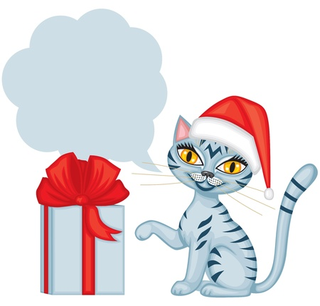 Tabby blue cat in cap Santa gives a gift tied with red ribbon and wishes Merry Christmas Stock Vector - 16447789