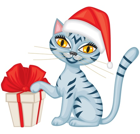Tabby blue cat in cap Santa gives a gift tied with red ribbon and wishes Merry Christmas Stock Vector - 16447783