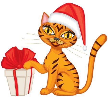 Tabby red cat in cap Santa gives a gift tied with red ribbon Stock Vector - 16447784