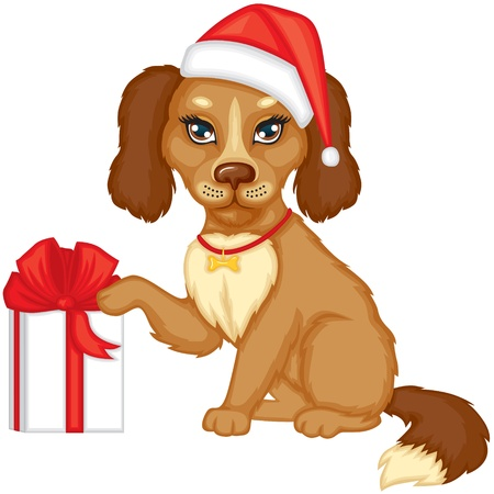 Brown dog in cap Santa gives a gift tied with red ribbon Vector