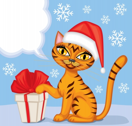 Tabby blue cat in cap Santa gives a gift tied with red ribbon and wishes Merry Christmas Vector