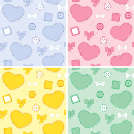 ruffles: Set color seamless pattern with hearts, buttons and patches  Illustration
