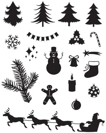 sapins: Silhouette d'ic�nes de No�l Illustration