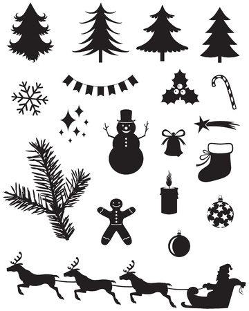 Silhouette set of Christmas icons Vector