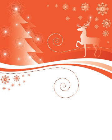 Greeting Christmas card with deer and fir trees Stock Vector - 16529669
