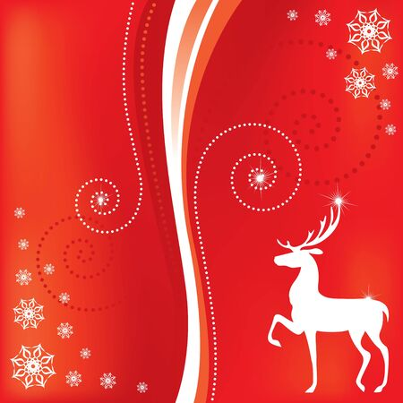 Congratulatory Christmas card with deer and swirls Stock Vector - 16529670