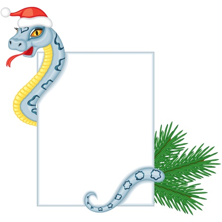 Cute cartoon snake gray-blue color with a patterned back keeps a card