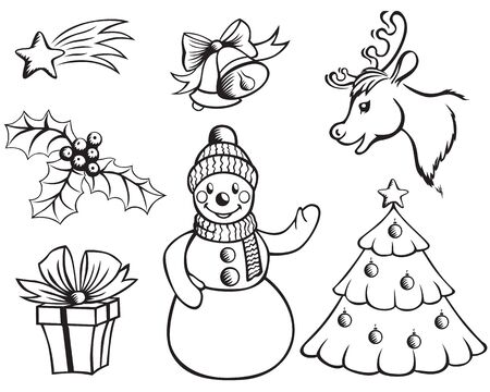 Contour images snowman deer head, trees, holly, bells, stars, and gifts Vector