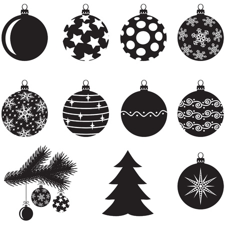 A set of Christmas baubles decorated with various patterns and fir tree branch for decoration Vector