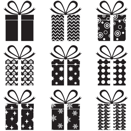 A set of black and white gift box with a pattern Vector