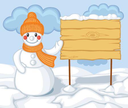 snowdrifts: Cute cartoon sorridente pupazzo di neve con cappello e sciarpa sullo sfondo dei cartelloni cumuli di neve Vettoriali