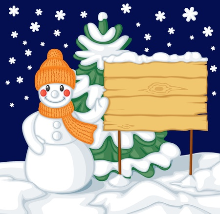 Cute cartoon smiling snowman with hat and scarf and billboard against the background of fir Vector