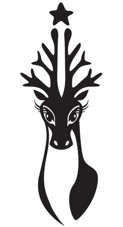 The stylized image of a deer head with antlers in a Christmas tree Vector