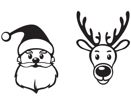 Contour image face of Santa Claus and reindeer Rudolph Vector