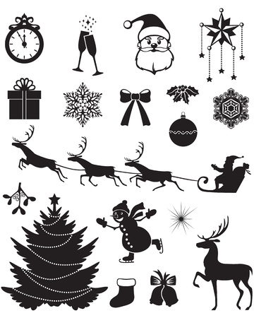 Christmas silhouettes with Santa, reindeer, fir, snowman, holly, and other Vector