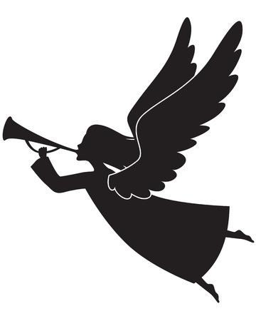 ali angelo: Una silhouette di un angelo di Natale soffia una tromba