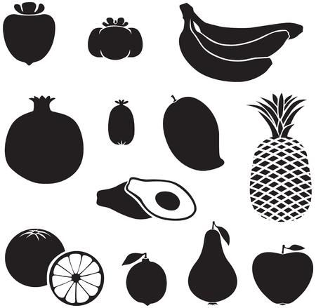 mango slice: Set of silhouette images of different fruits
