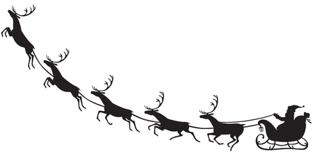 sled: Silhouette of Santa Claus sitting in a sleigh, reindeer who pull Illustration