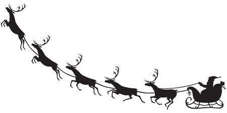 weihnachtsmann: Silhouette von Santa Claus sitzt in einem Schlitten, Rentiere, die ziehen