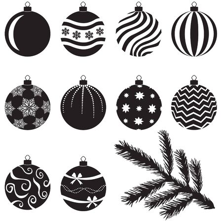 christmas deco: A set of Christmas baubles decorated with various patterns and branch for decoration