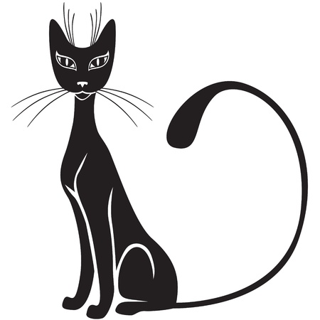 The silhouette of black graceful cats  Stock Vector - 16868343