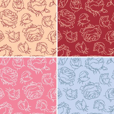A set multicolored seamless pattern of flowers and buds of roses Stock Vector - 16999669