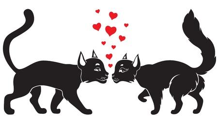 snuffelen: Kat valentijn en kitty omringd door hartjes