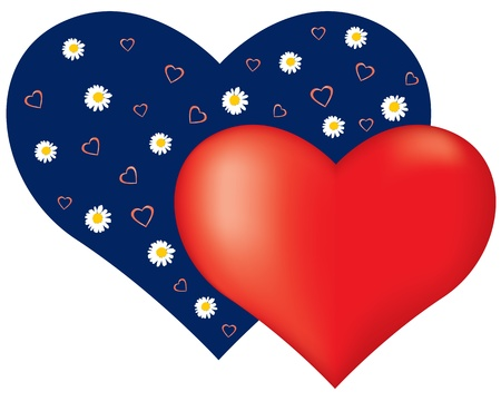 Valentine card with a little red heart on the background of a large blue heart with flowers Stock Vector - 17032058