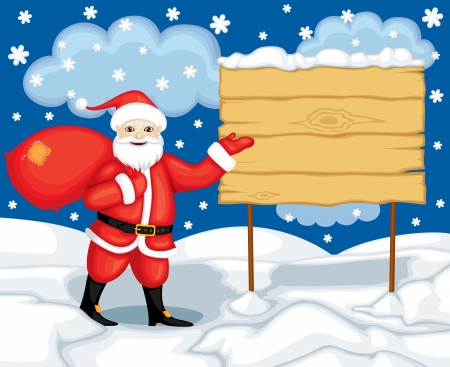 Santa Claus on the background of the snowdrifts indicates billboard Stock Vector - 17074296