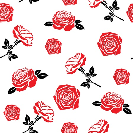 Seamless pattern of red flowers roses and leaves Stock Vector - 17113189