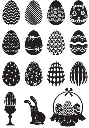 Set of black and white Easter eggs decorated with ornaments Illustration