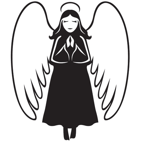 drooping: Angel praying with folded hands in front of chest and drooping wings Illustration