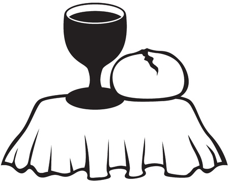 bread and wine: Silhouette image of the chalice of wine and bread