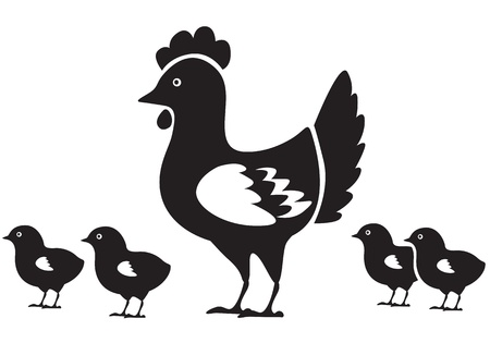 Mother hen and four small chicken Stock Vector - 17277832