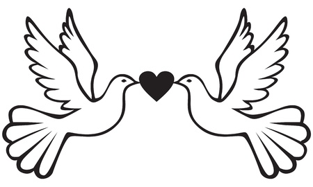 Pair of white doves holding heart