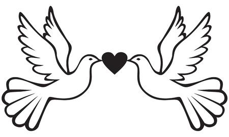 Pair of white doves holding heart
