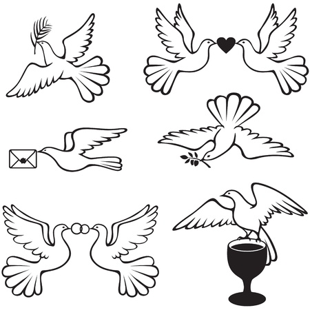 Set symbolic images with doves Vector