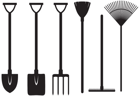 Set of silhouette images of gardening tools Stock Vector - 17429084