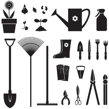 Conjunto de imágenes de la silueta de maquinaria de jardineria