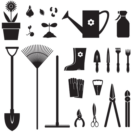 seed pots: Set of silhouette images of garden equipment Illustration
