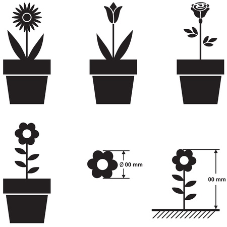 flor caricatura: Un conjunto de siluetas de flores en macetas y el esquema de tamaño de la flor Vectores