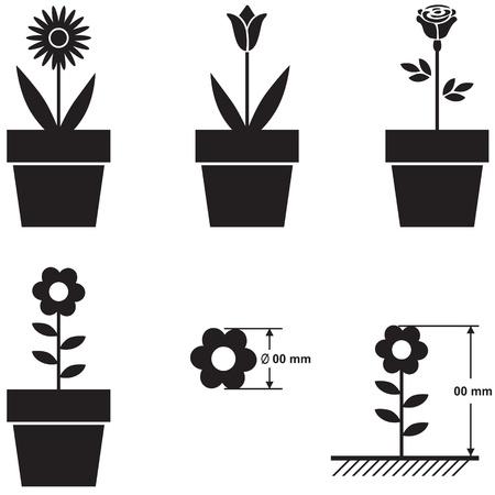 diameter: Un insieme di sagome di fiori in vasi e dimensioni schema fiore