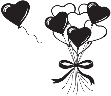 Heart balloons bouquet whit bow Vector