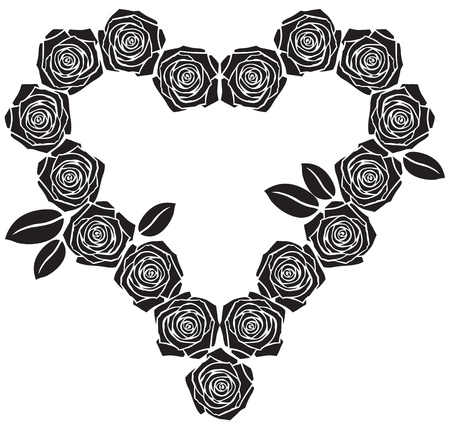 Valentine of roses silhouettes with leaves Stock Vector - 17479277