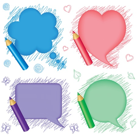Set multicolor of speech bubbles and pencils in the background picture Stock Vector - 17574416