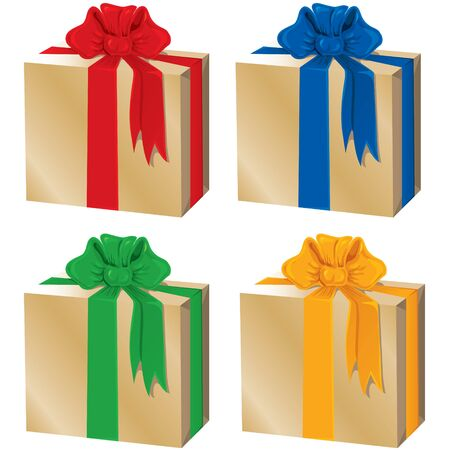 Set of gift boxes decorated with bows of different colors Stock Vector - 17574415