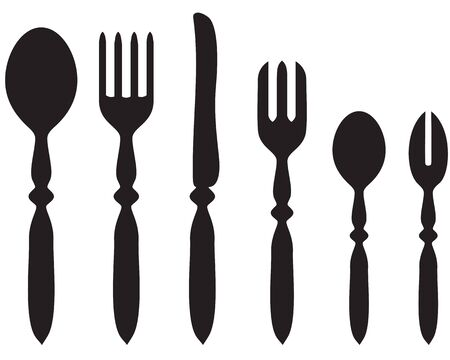 Silhouette image of a set of cutlery Vector