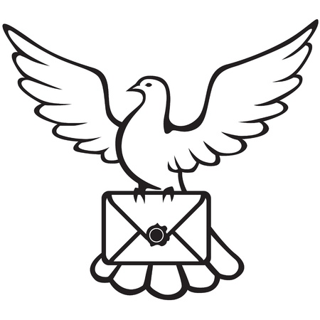 cartoon envelope: Contour image of a dove carrying an envelope in the paws