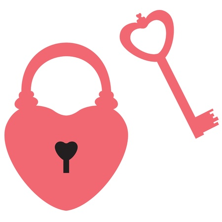 Heart-shaped lock and key to it Vector