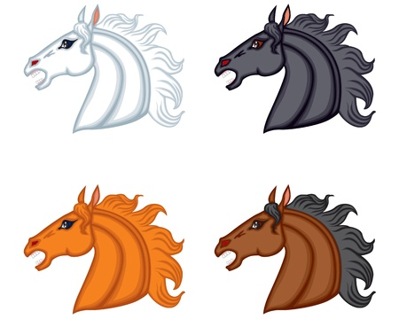 Set of images of different color horse head Stock Vector - 17728398